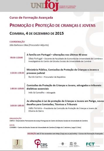 """Programa Curso de Formação Avançada """"Promoção e proteção de crianças e jovens"""""""